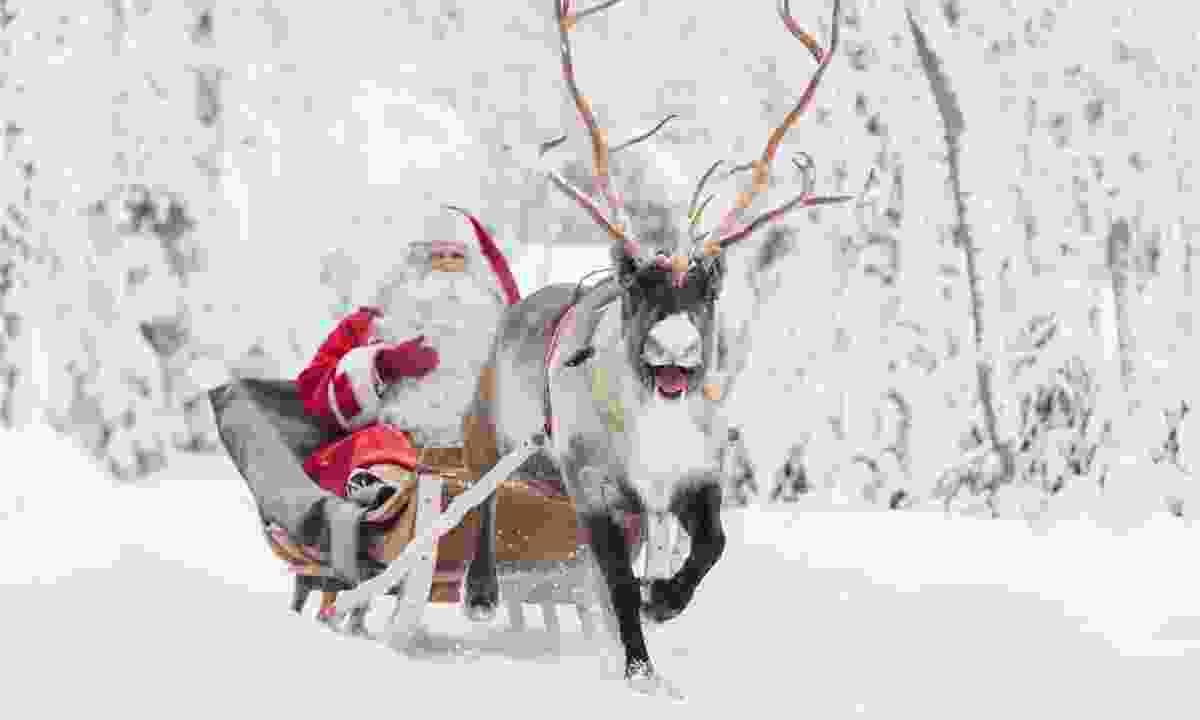 Santa on his sled near Rovaniemi (visitrovaniemi.fi)