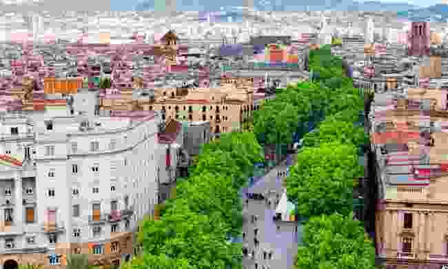 Aerial view of La Rambla (Shutterstock)
