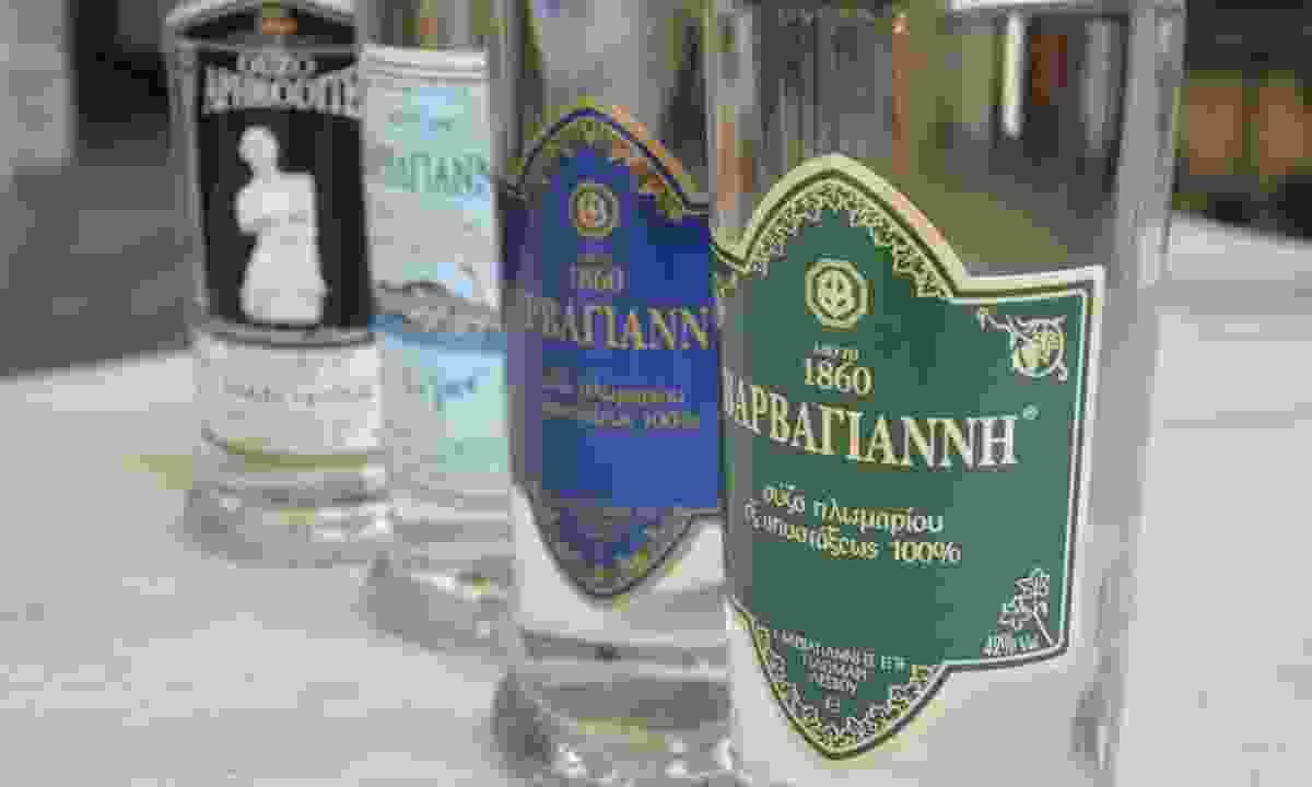 Ouzo bottles at the Barbayanni distillery, Plomari (Phoebe Smith)