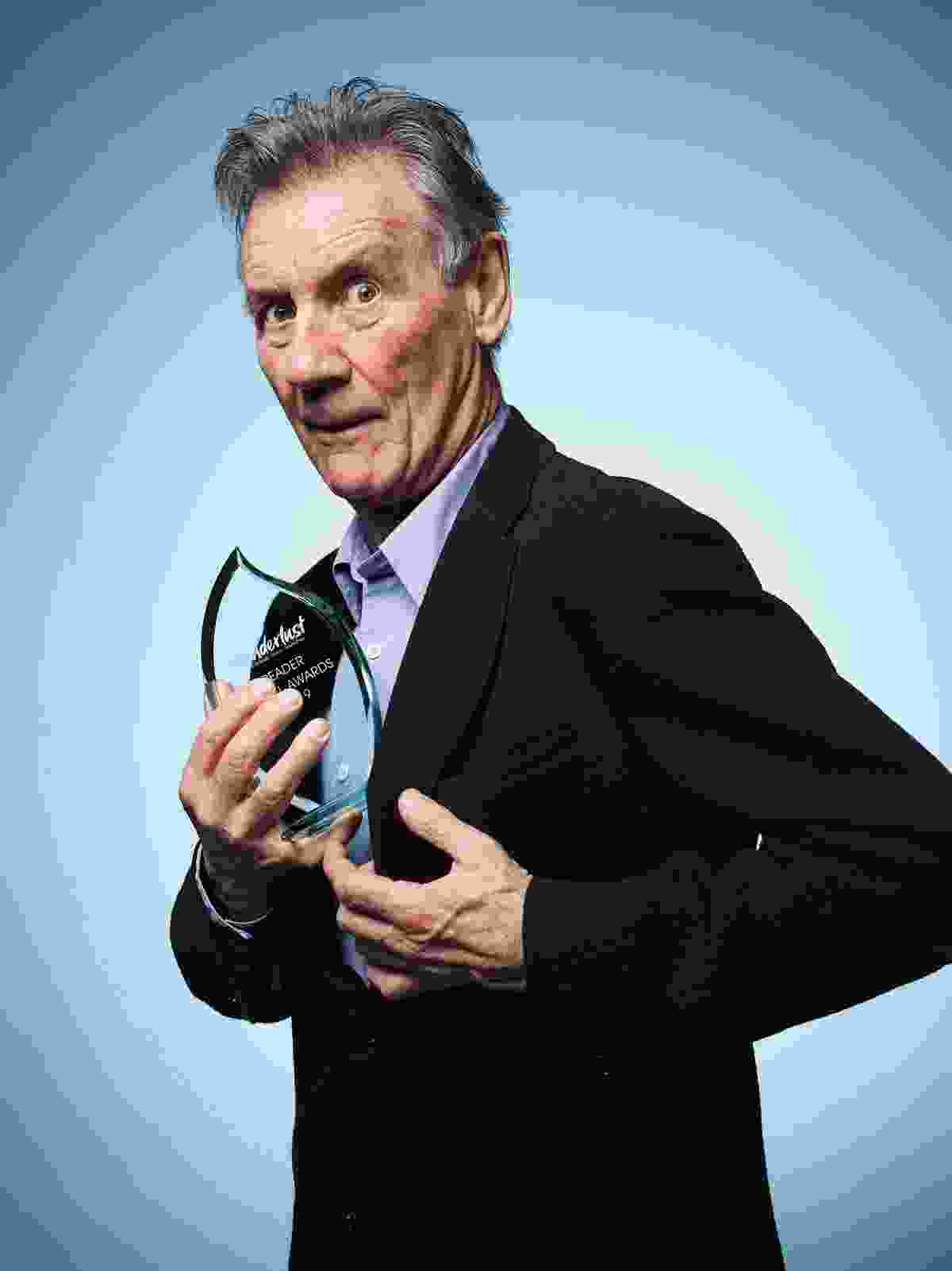 Sir Michael Palin with his Icon of Travel award (Seamus Ryan)