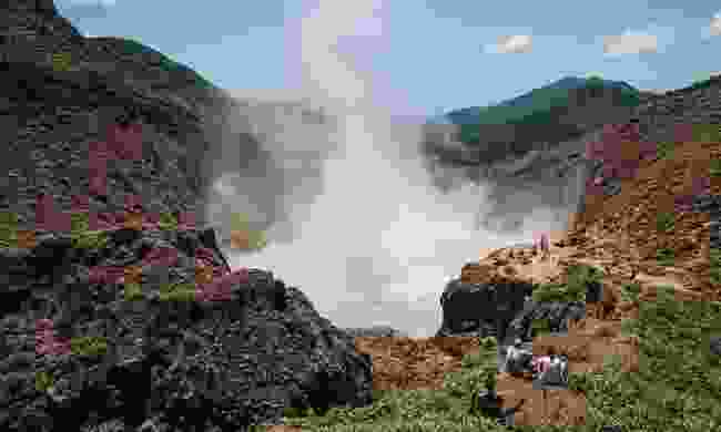 The Boiling Lake Trail is a day-long hike from the Valley of Desolation to the Boiling Lake itself