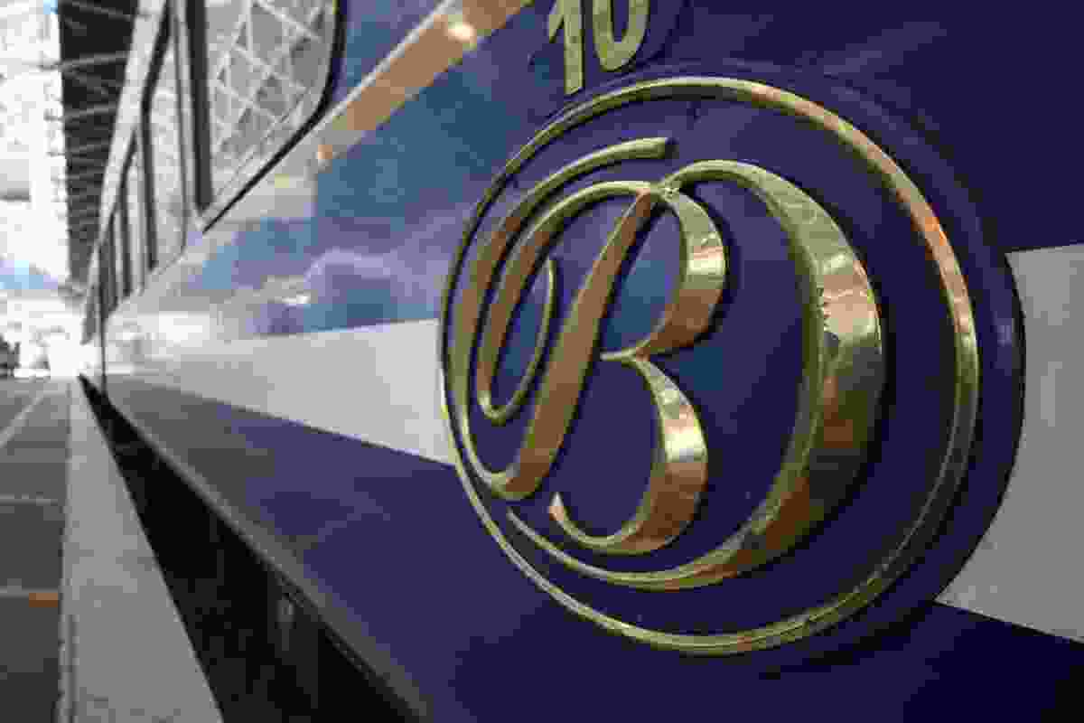 A close-up of the Blue Train's logo - you can't miss it (Phoebe Smith)