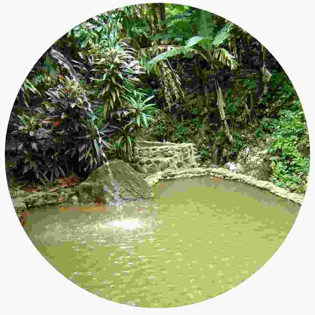 An island sulphur pool