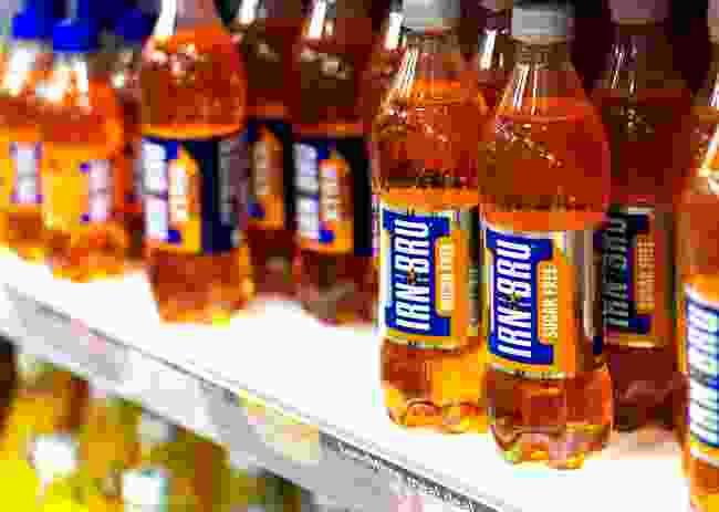 Scottish soft drink Irn-Bru in plastic bottles (Shutterstock)
