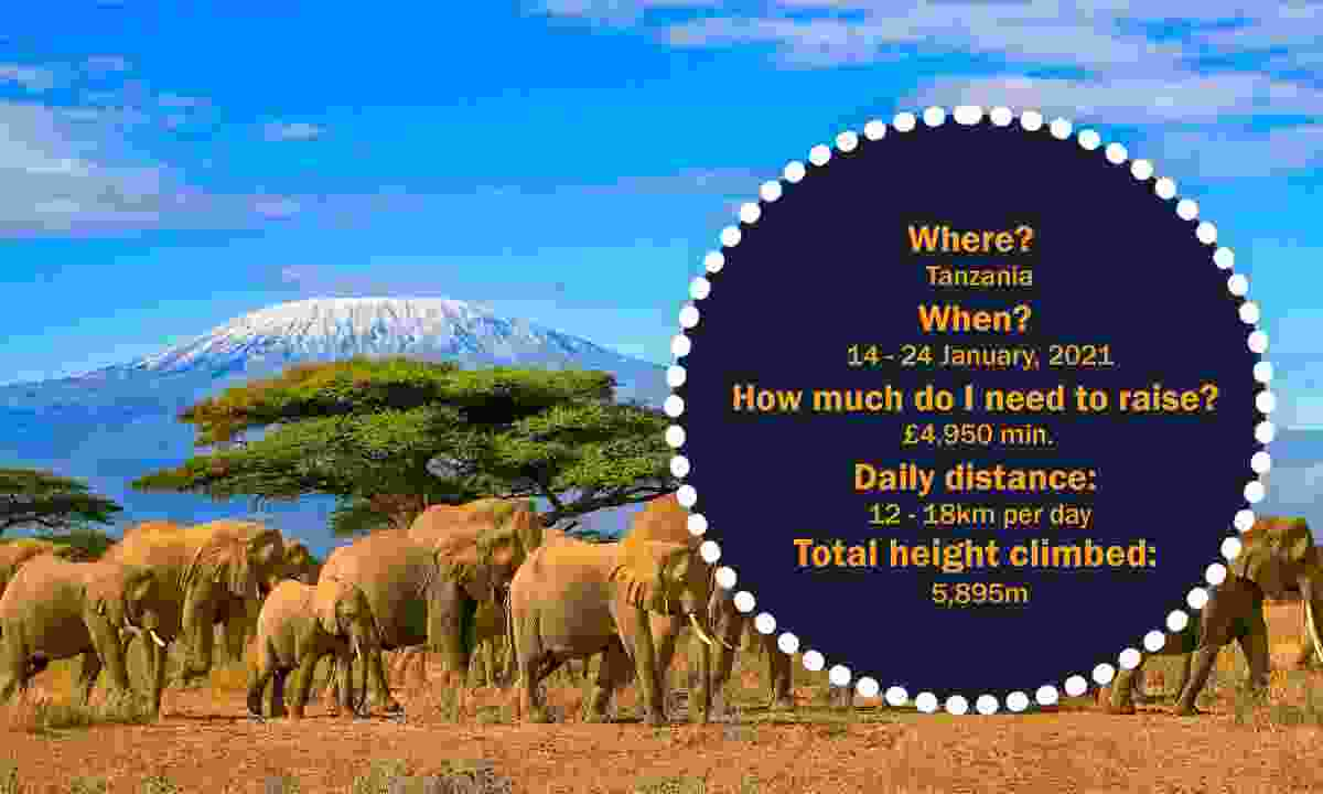 Where? Tanzania When? 14 - 24 January, 2021 How much do I need to raise? £5,200 min. Daily distance: 12-18km per day Highest point: 5,895m (Dreamstime)