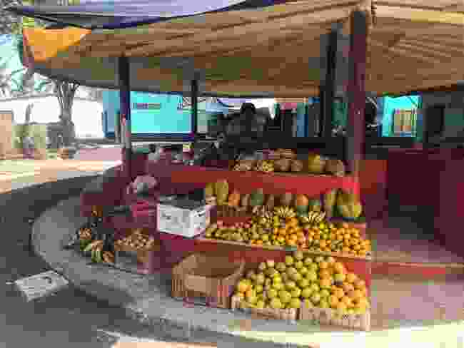 A fruit and veg stand on Isabela Island (Ian Melvin)