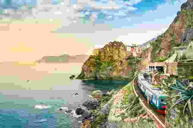 A train at Manarola station in Cinque Terre (Shutterstock)