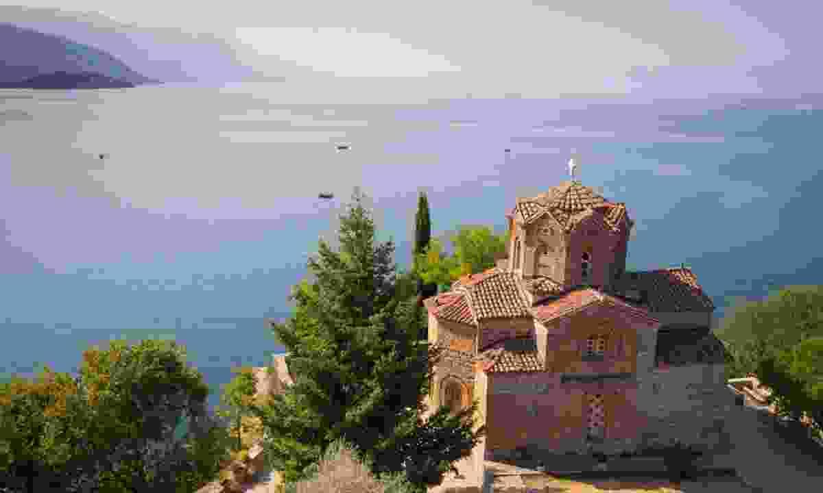 Cliff-top church at Lake Ohrid, Macedonia (Dreamstime)