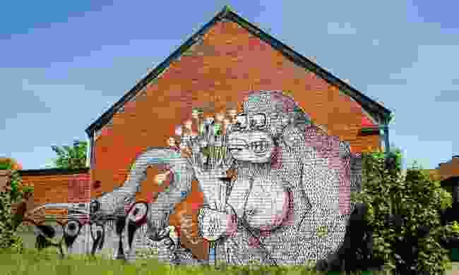 Graffitied streets in Doel display artist Roa's murals (Dreamstime)