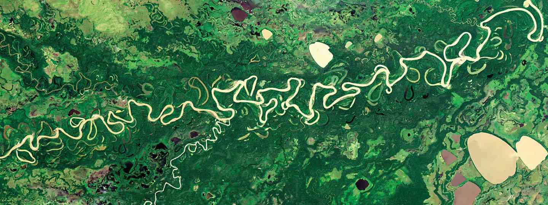 The Rio Mamoré meanders through the Amazon Basin (NASA Goddard Space Flight Centre and U.S. Geological Survey)