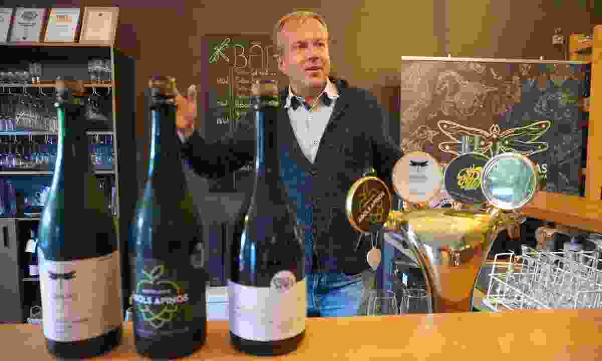 Martins Barkans enthusing at the Abavas cellars (Peter Moore)