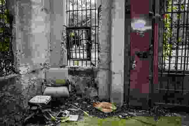Guard area outside of a prison entrance (Lisa Beard)