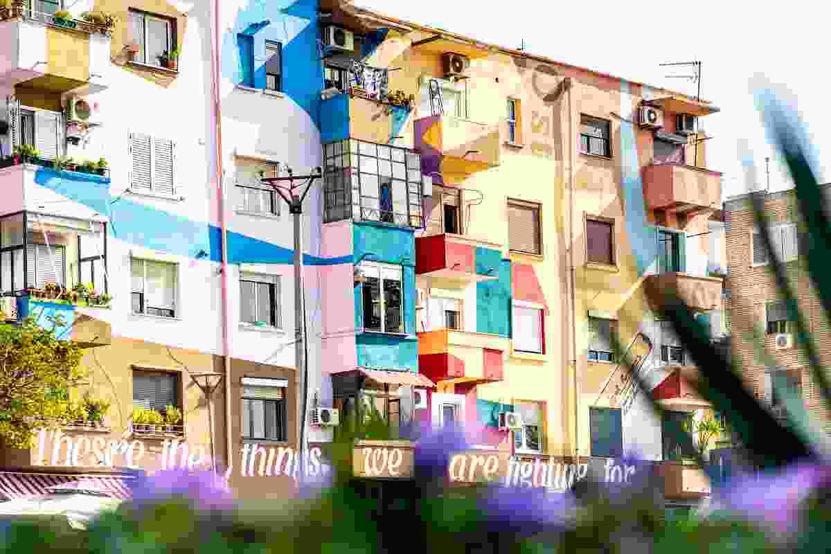 Street art covers a former socialist building (Shutterstock)