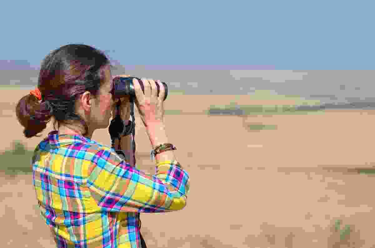 A tourist looking through binoculars on safari in the Savannah (Dreamstime)