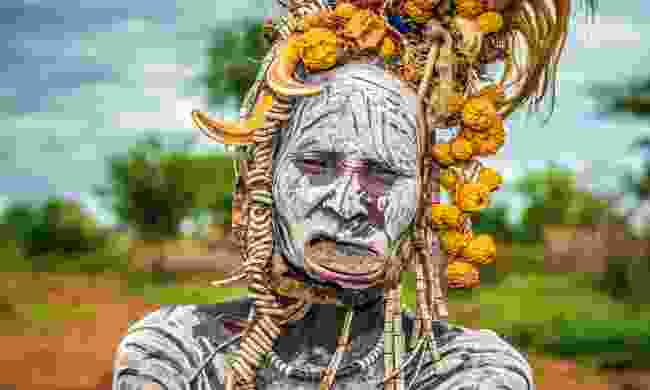 Old Mursi woman from the Omo Valley in Ethiopia (Dreamstime)