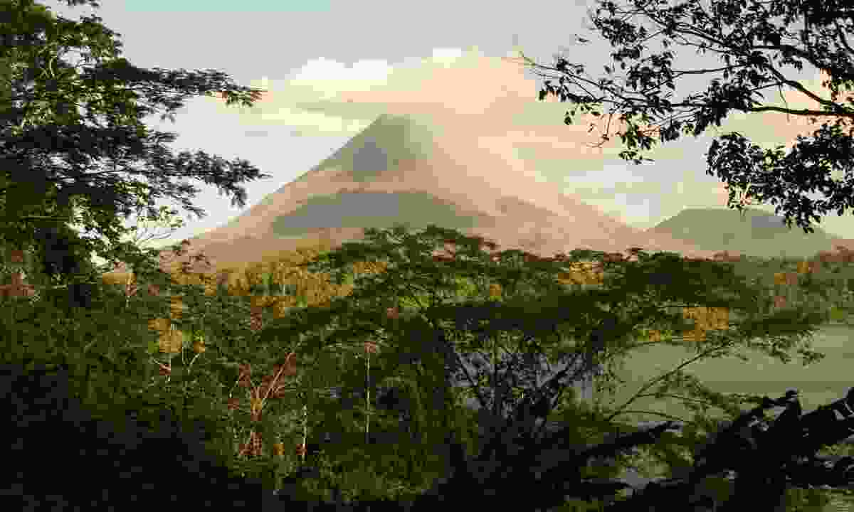 Arenal Volcano, as seen from Lake Arenal (Dreamstime)