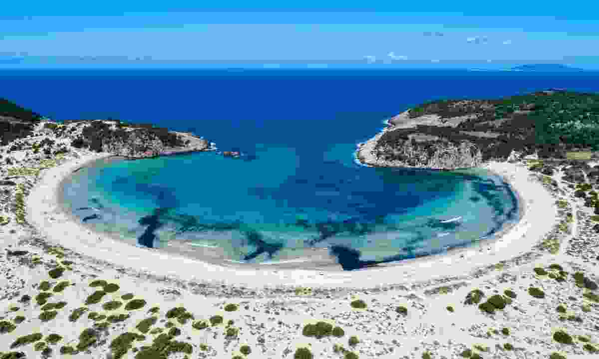 Aerial view of Voidokilia beach (Shutterstock)