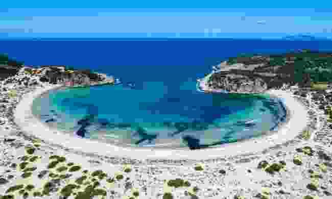 Aerial view of Voidokilia beach (Shutterstock)