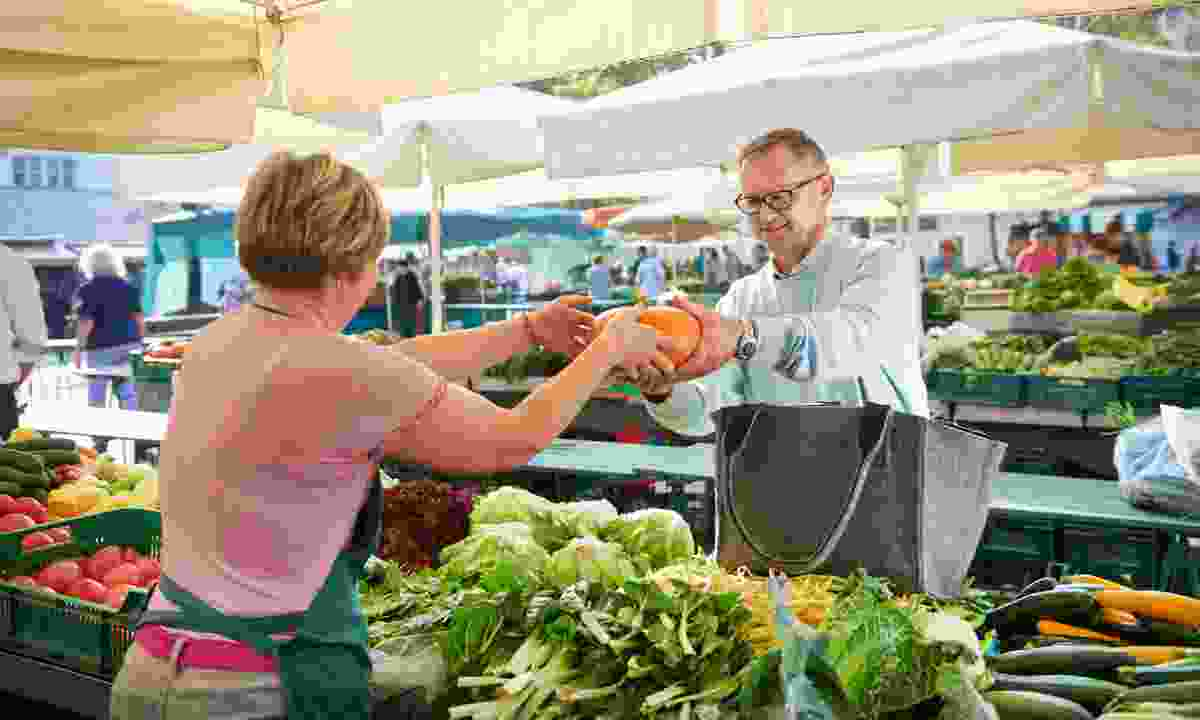 Food market – select local products as one of the best of Slovenian chefs Janez Bratovž (Slovenian Tourist Board)