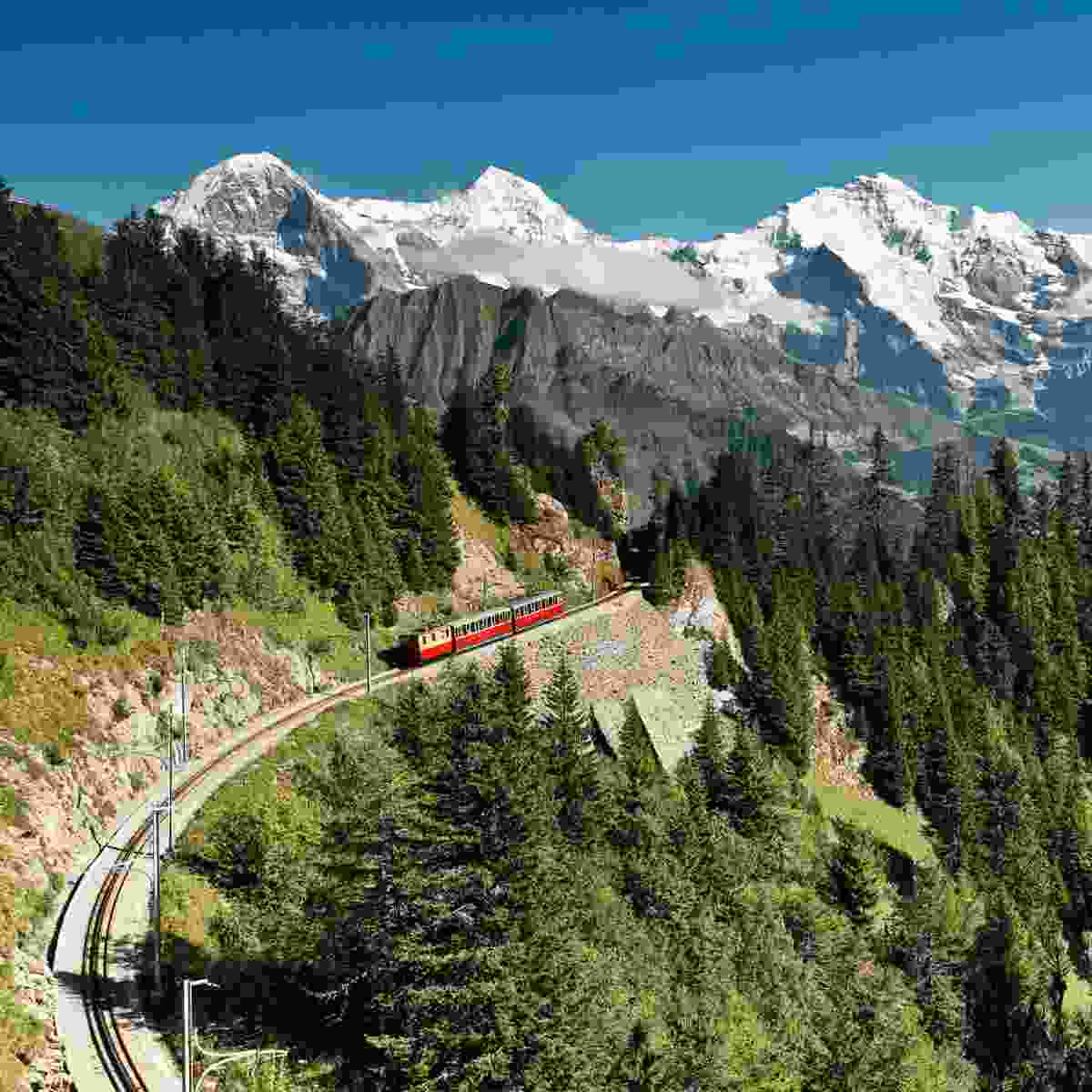 Riding the train through Switzerland