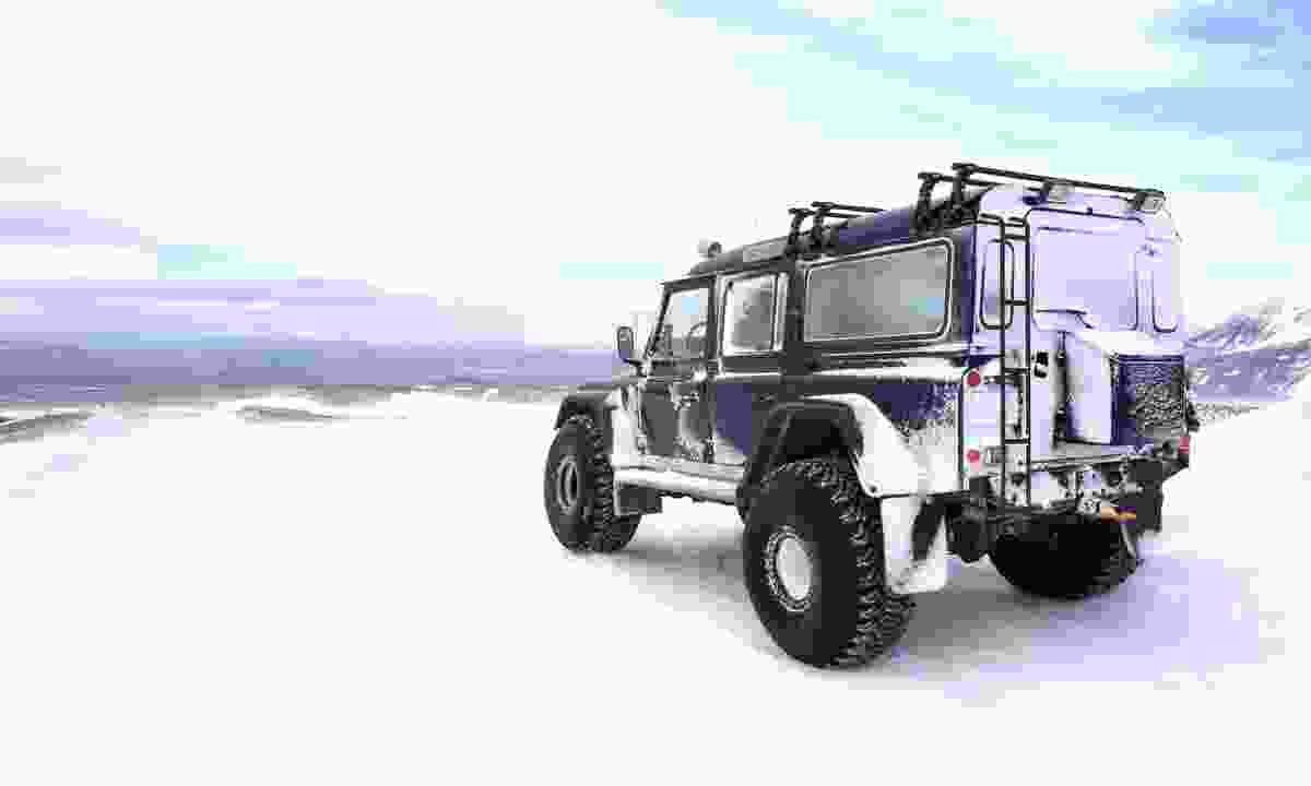 Super Jeep on top of Langjokull Glacier in Iceland (Dreamstime)