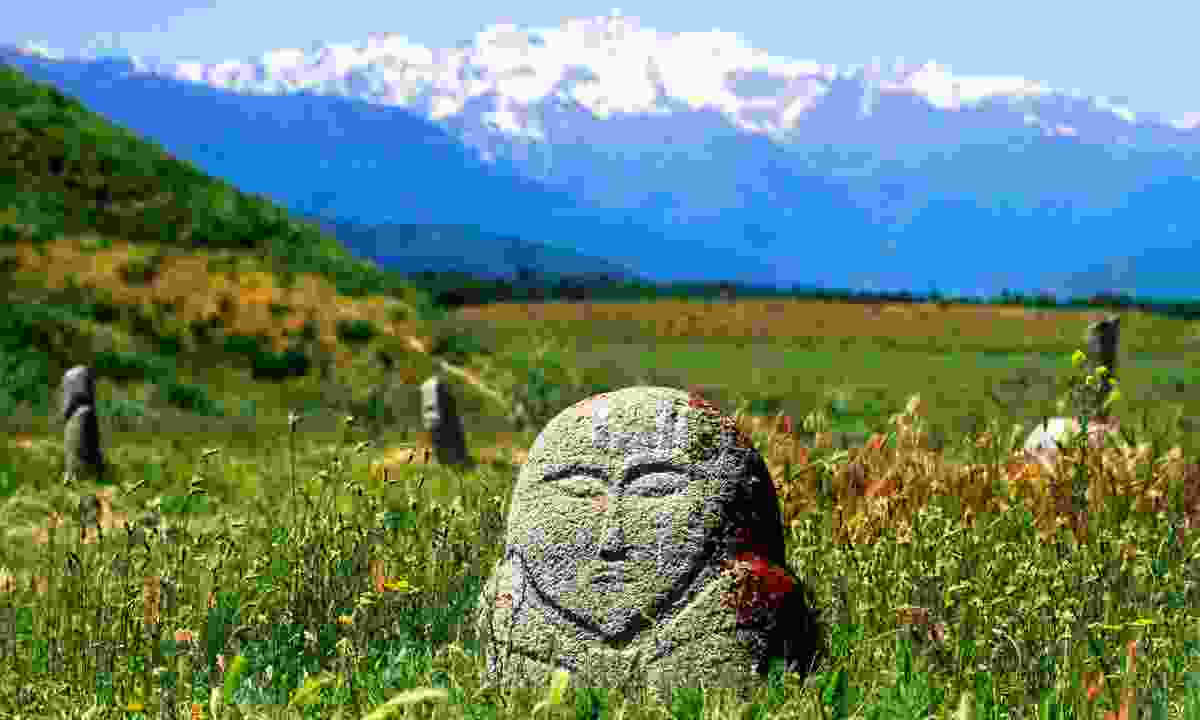Kurgan stone near lost city of Balasagun in Kyrgyzstan (Shutterstock)