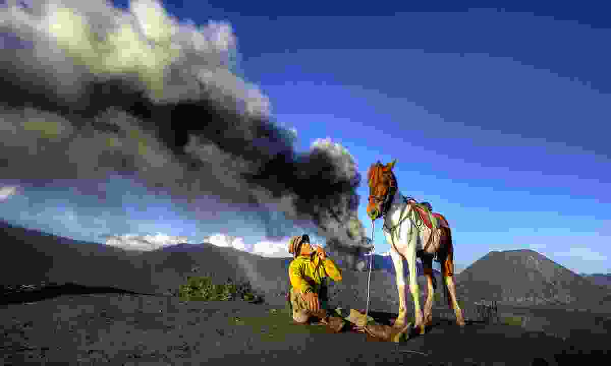 Horse and rider on Mount Bromo (Dreamstime)