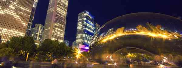 The Chicago Bean at night (Dreamstime)