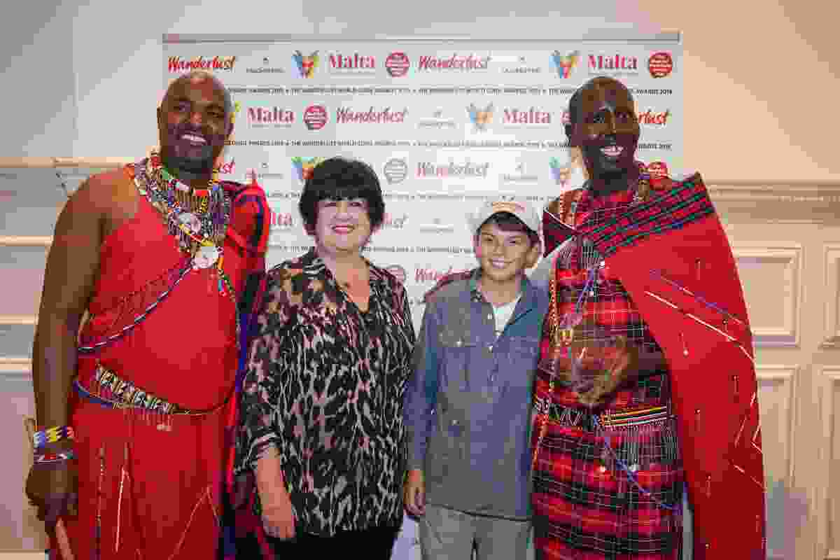 Lyn with James Nampaso (right), winner of the Top Safari Guide award (Victoria Middleton)