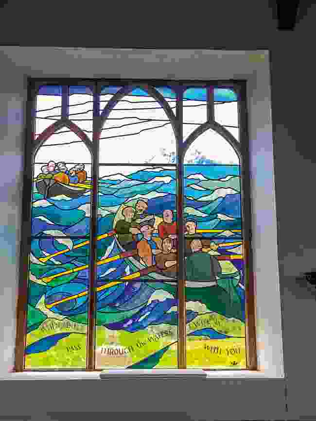 This stained glass window by Oriel Hicks documents the kind of sea rescues that were once common on the islands (Wanderlust)