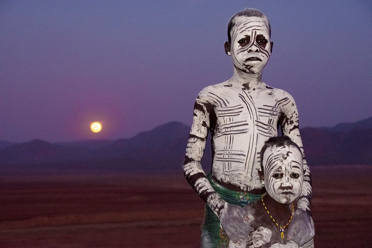 Two painted boys in Ethiopia's Omo Valley (Bryan Peterson)