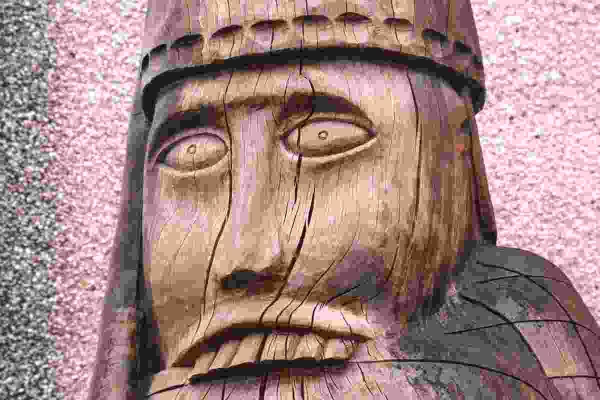 Berserker carving by Stephen Hayward at Uig Community Council building, Lewis (Graeme Green)