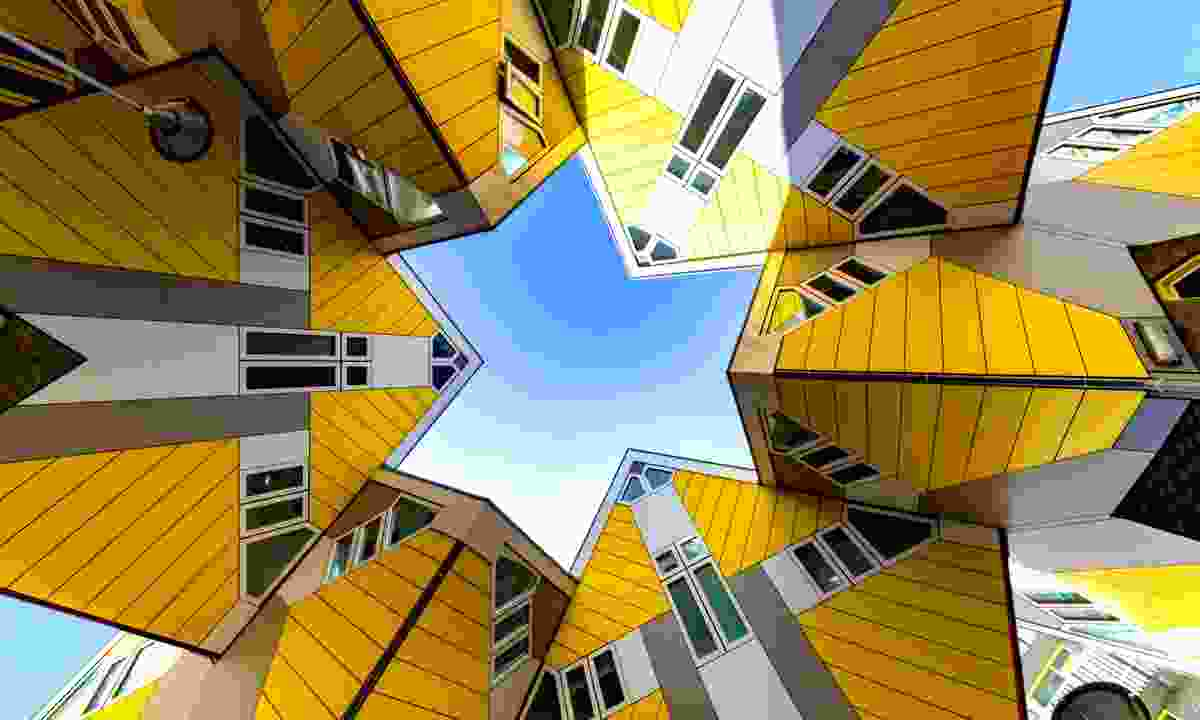 Modern yellow cubic houses in Rotterdam (Dreamstime)