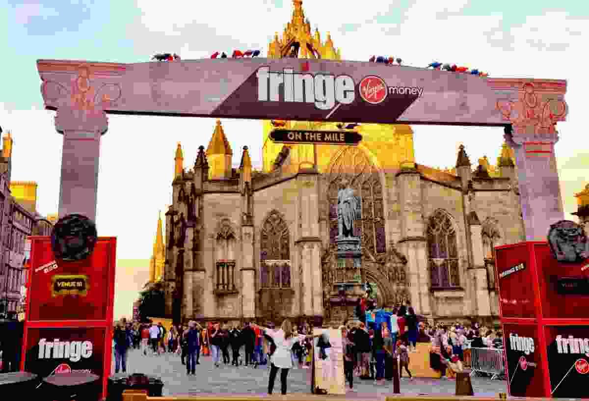 A sign for the Edinburgh Fringe Festival on the Royal Mile, Edinburgh, in 2018 (Shutterstock)