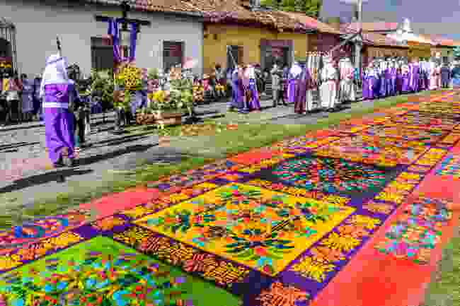 The colourful sawdust carpet lain during Semana Santa, Antigua (Shutterstock)
