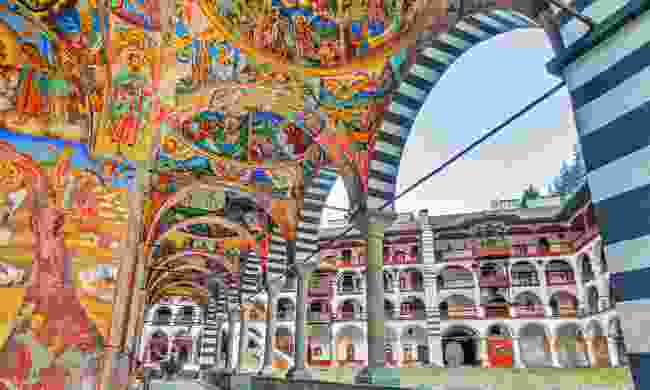 Vibrant decorations of the Orthodox Rila Monastery (Shutterstock)