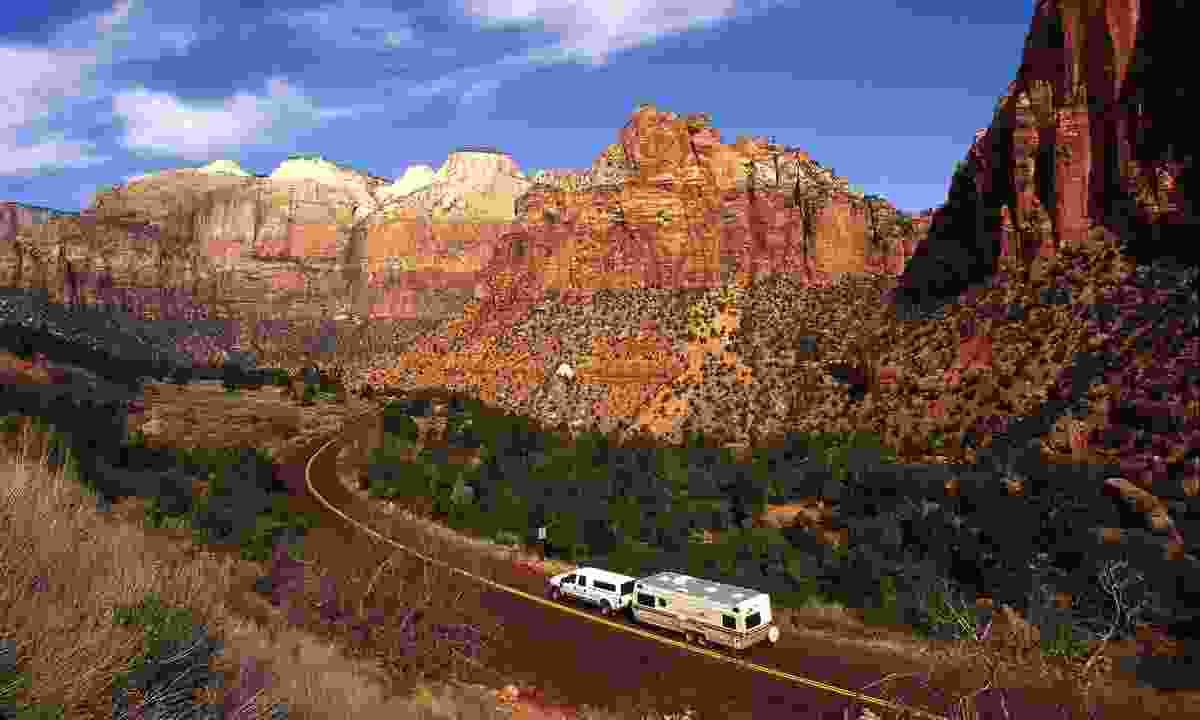 Drive the scenic Zion-Mount Carmel Highway in Zion National Park