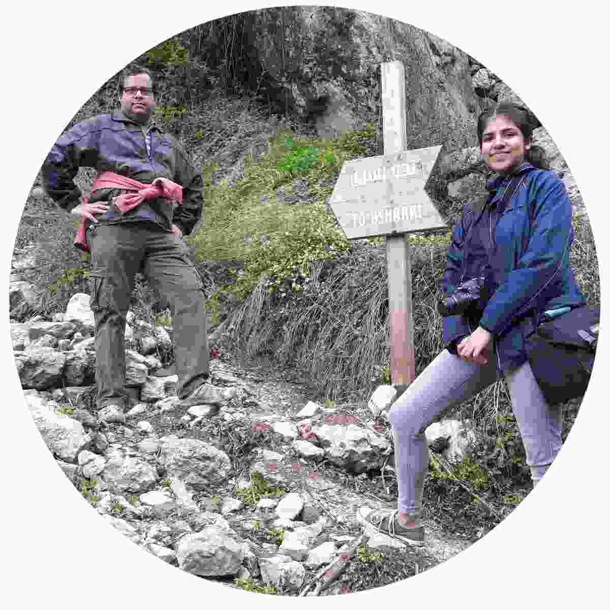 Nandini's husband and daughter walk from Bcharre (Nandini Chakraborty)