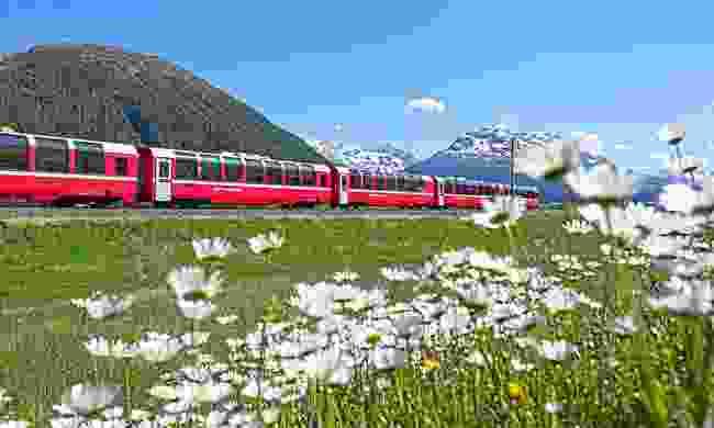 Bernina Express running beside Lake Bianco (Rhaetische Bahn)