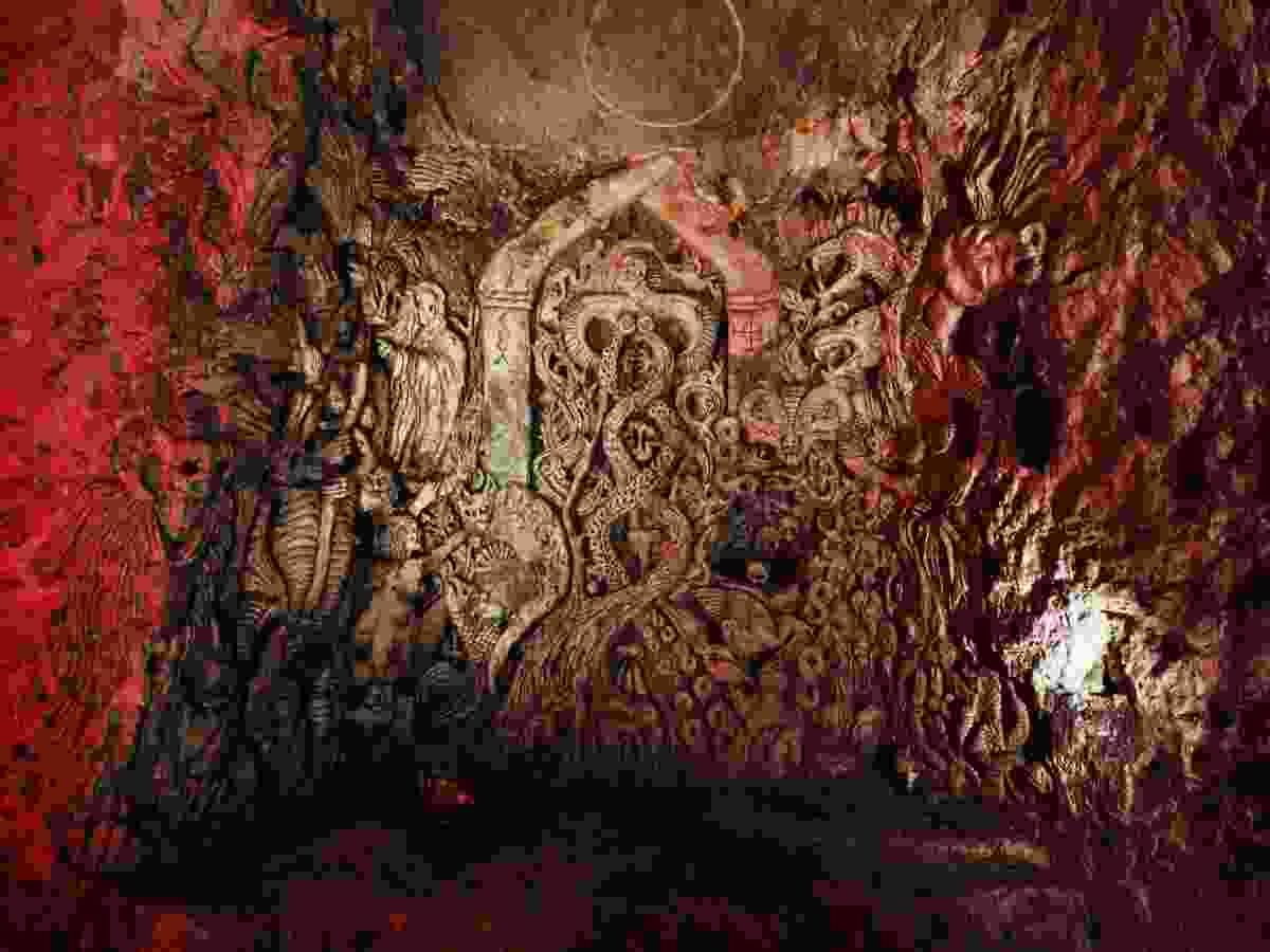 Ornate carving from 1995 (Chislehurst Caves)