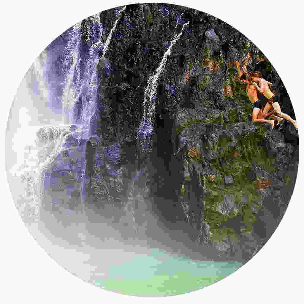Thrilling waterfall jumping