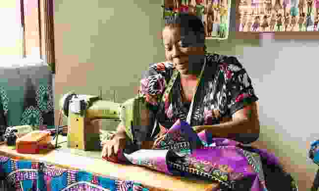 A woman sewing at Casa Morabeza, a community initiative run by the NGO Príncipe Trust (Paul Bloomfield)