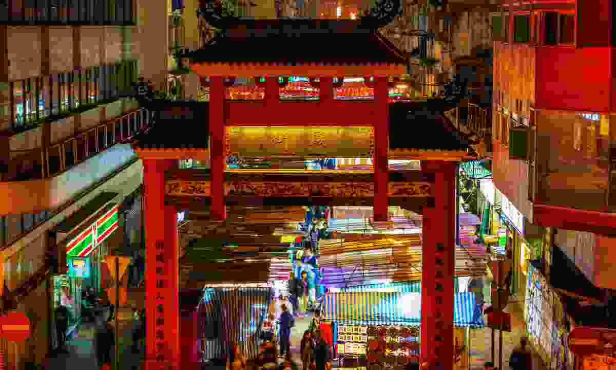 Tin Hau Temple at the centre of Temple Street Night Market (Dreamstime)