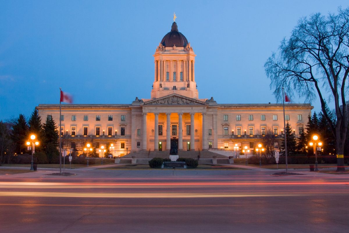 Manitoba Legislative Building at dusk (Dreamstime)