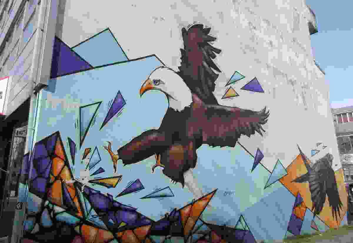 An eagle on the side of a Reykjavik building (Dreamstime)