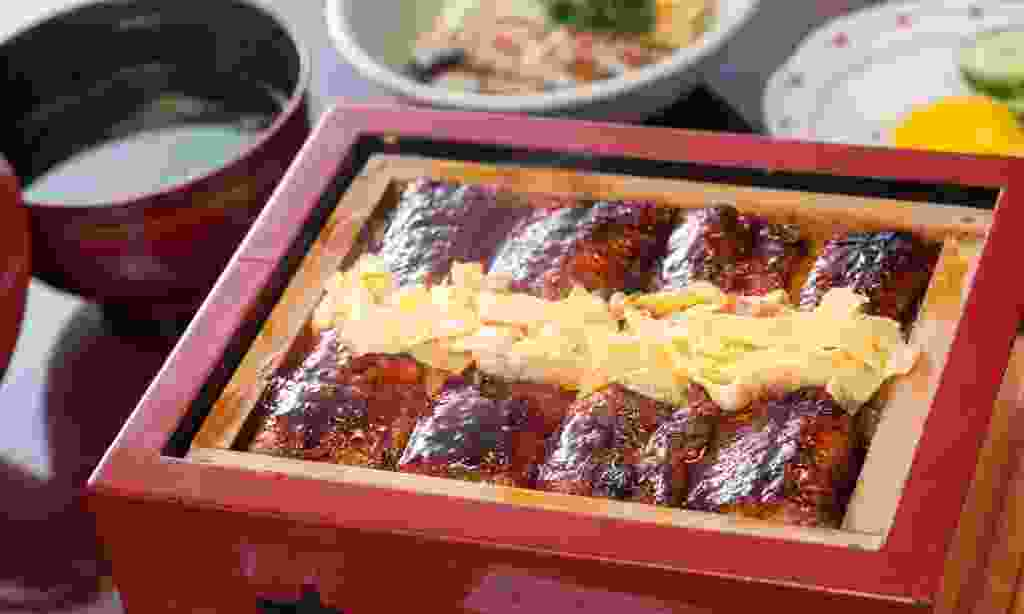 Sticky grilled eel - a local speciality