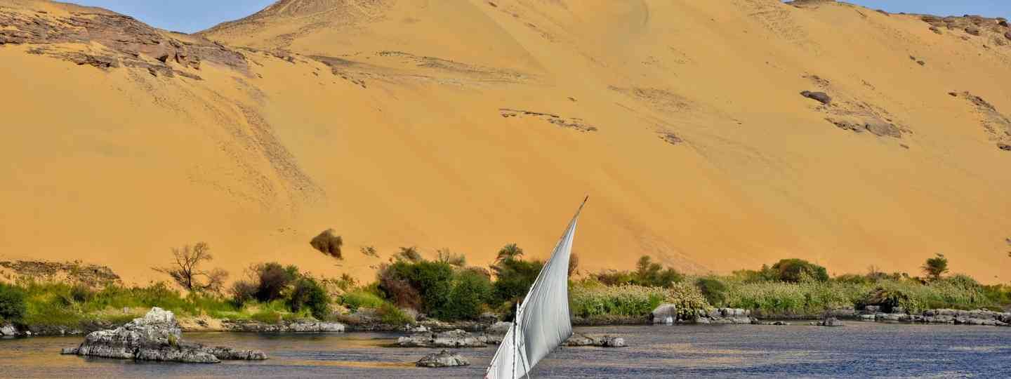 A felucca in Aswan, Egypt on The Nile (Dreamstime)