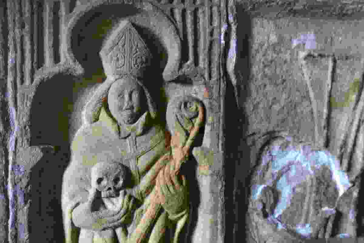 Carved figure at 15th century St Clement's Church, Rodel (Graeme Green)
