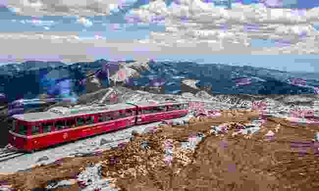 The Pikes Peak Cog Railway at the peak (Dreamstime)