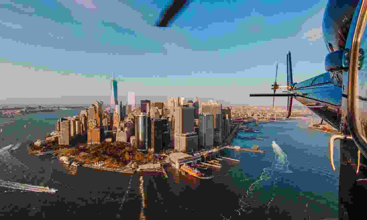 New York City skyline and Hudson River as seen from a helicopter (Shutterstock)